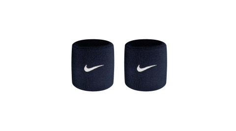 NIKE SWOOSH單色腕帶-慢跑 路跑 籃球 網球 羽球 一雙入 深藍@NNN04416OS@