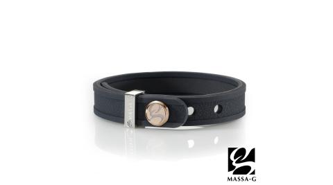 MASSA-G X DECO ONLY U唯你鍺鈦手環-品牌革紋(黑)