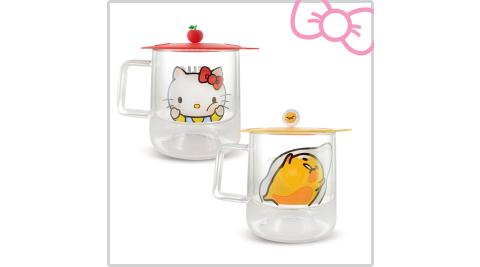 【二入組】三麗鷗家族 隔熱雙層玻璃杯組-含造型雙用杯蓋/杯墊