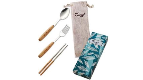 【ProCamping領航家】環保餐具3件組-木柄筷子/湯匙/叉子