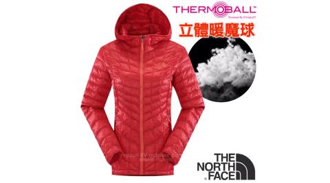 【美國 The North Face】女新款 超輕量暖魔球保暖連帽外套.兜帽夾克.大衣/媲美羽絨科技/CUD4 瓜紅 V