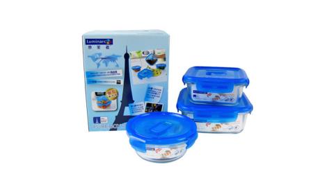 樂美雅 強化玻璃保鮮盒超值組合(1220ml+760ml+420ml)BP-111