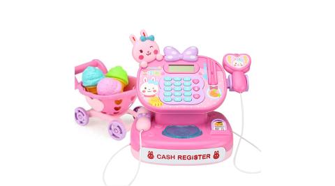 【孩子國】粉粉小兔聲光超市收銀機豪華組/家家酒玩具 (附可擴音麥克風及購物車)