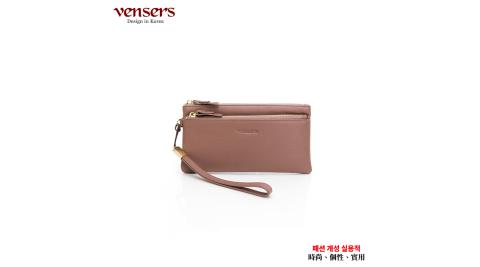 【vensers】小牛皮潮流個性皮夾(TC606301粉色長夾)