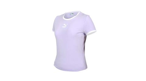 PUMA 女貼身短袖T恤-休閒 上衣 CLASSICS 歐規 粉紫白@59957716@