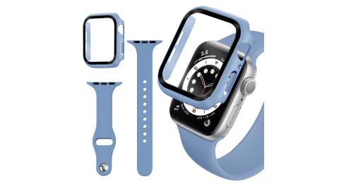 For Apple Watch Series SE/6/5/4 (44mm) 全包覆9H鋼化玻璃貼+錶殼+矽膠錶帶-淺紫