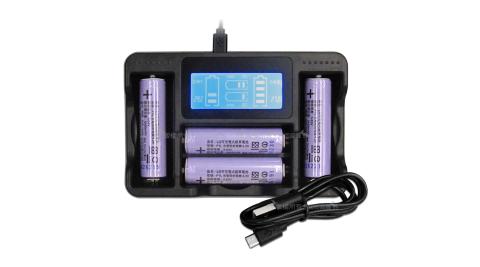 LG 安全認證 凸頭18650充電鋰電池 3400mAh(4入)+LCD液晶四槽充電器 充電組