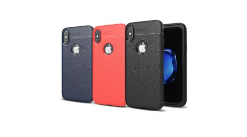 VXTRA iPhone X 手感皮紋風 軟性手機殼 有吊飾孔