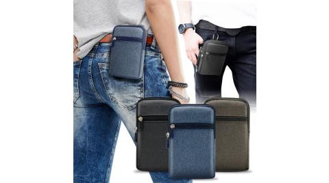 Aisure For ZenFone Max Pro ZB602KL 時尚前端雙層拉鍊帆布腰包