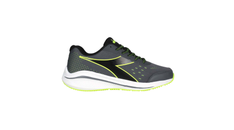 DIADORA 男專業輕量慢跑鞋-E寬楦-路跑 運動 灰黑螢光綠@DA71172@