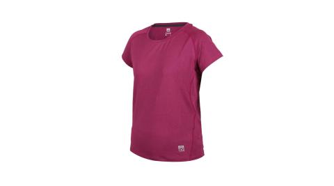 FIRESTAR 女彈性剪接圓領短袖T恤-慢跑 路跑 吸濕排汗 運動 深桃紅@DL060-47@