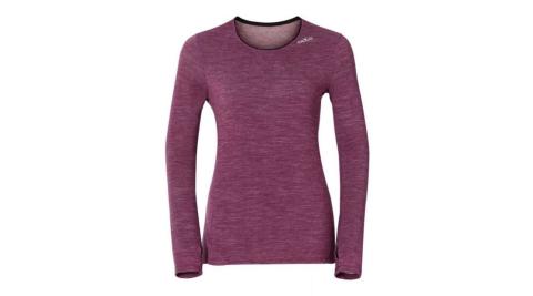 【ODLO】瑞士 女科技羊毛長袖保暖內衣 機能保暖型羊毛內衣 女款 - 麻紫紅 110152-30225