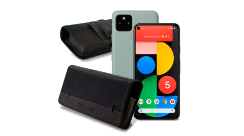 CITY for Google Pixel 5 品味柔紋橫式腰掛皮套