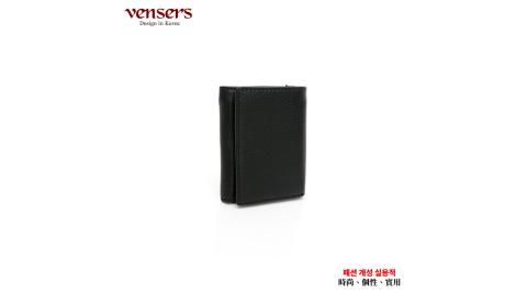 【vensers】小牛皮潮流個性皮夾(TC606001黑色短夾)