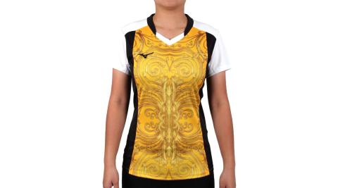 MIZUNO 2017企業排球聯賽 女排球短袖上衣-T恤 短T 企排 美津濃 黃黑@V2TA7C2843D@