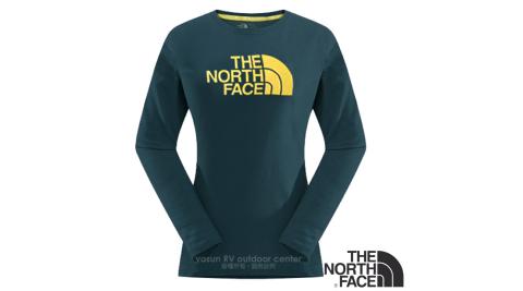 【美國 The North Face】女新款 LOGO長袖T恤.機能性吸濕排汗衣.運動T恤.上衣/寬鬆剪裁/364P 墨藍 N