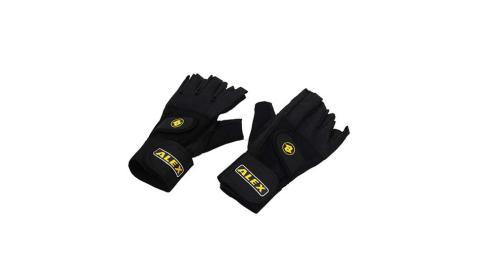 ALEX 皮革手套-健身 重量訓練 半指手套 台灣製造  黑@A-18@