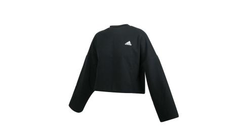 ADIDAS 女長袖T恤-亞規 短版 休閒 上衣 愛迪達 黑白@GC6943@