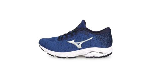 MIZUNO WAVE INSPIRE16 WAVEKNIT 男慢跑鞋-美津濃 麻花藍銀@J1GC201304@