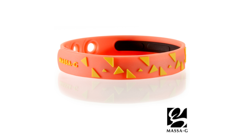 MASSA-G【Rhythm韻律-螢光橘】鍺鈦能量舒壓手環