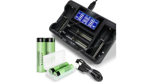 18650 BSMI認證鋰電池3350mAh(日本松下)*4入+YHO LCD-18650 液晶充電器 (四槽旗艦版)*1+防潮盒*2