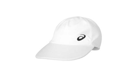 ASICS 平織帽-防曬 遮陽 路跑 慢跑 運動 帽子 亞瑟士 白黑@3043A048-101@