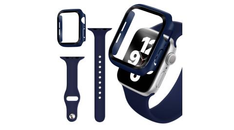 For Apple Watch Series SE/6/5/4 (40mm) 全包覆9H鋼化玻璃貼+錶殼+矽膠錶帶-夜藍