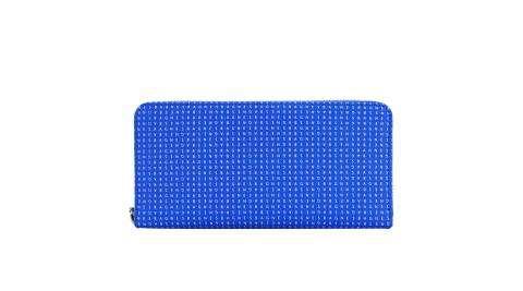 agnes b. LOGO印花拉鍊長夾(藍)