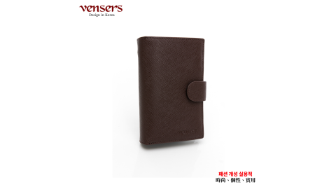 【vensers】小牛皮潮流個性皮夾(TA500304咖啡中夾)