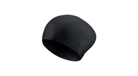 NIKE SWIM 成人長髮用矽膠泳帽-游泳 戲水 海邊 沙灘 黑@NESSA198-001@