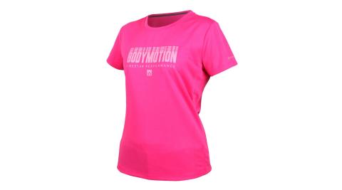 FIRESTAR 女吸濕排汗印花圓領短袖T恤-慢跑 路跑 淺桃紅@DL061-46@