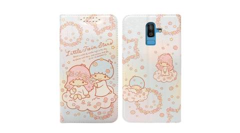 三麗鷗授權Kikilala 雙子星 Samsung Galaxy J8 粉嫩系列彩繪磁力皮套(花圈)