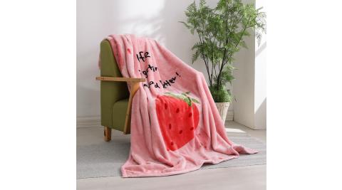 LAMINA 法蘭絨加厚雙面極暖細柔雲毯-草莓甜心
