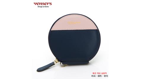 【vensers】小牛皮潮流零錢包(TA1700401藍粉)
