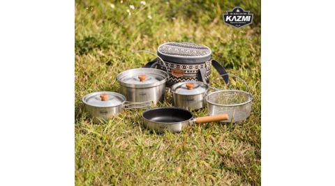 【KAZMI】KZM KAZMI 三層304高級不鏽鋼鍋具組 露營 鍋具組 湯鍋