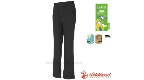 【荒野 WildLand】女新款 SOFTSHELL 彈性抗風透氣保暖內微刷毛休閒軟殼長褲/立體剪裁/W2309 時尚黑
