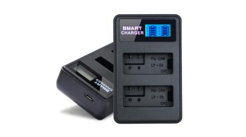 YHO 液晶雙槽充電器for Canon LP-E8 (一次充兩顆電池)行動電源也能充