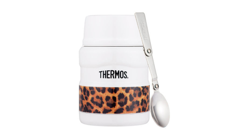 【THERMOS 膳魔師】不鏽鋼真空保溫食物燜燒罐(附湯匙)SK3000LWH經典白豹紋