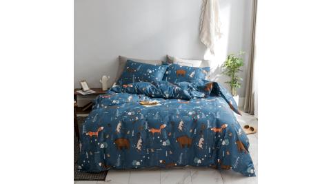 【KOKOMO'S扣扣馬】MIT天然精梳棉200織紗單人床包2件組-熊狐狸餅乾