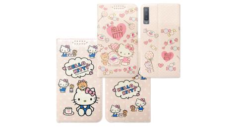 三麗鷗授權 Hello Kitty貓 三星 Samsung Galaxy A7 (2018) 粉嫩系列彩繪磁力皮套