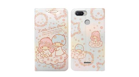三麗鷗授權Kikilala 雙子星 紅米6 粉嫩系列彩繪磁力皮套(花圈)