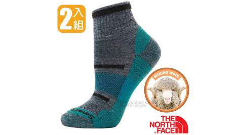 【美國 The North Face】Smartwool 聯名款 頂級美麗諾羊毛避震型機能登山健行襪/3CNO 藍/灰 N_兩入組