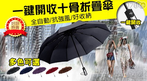加大/十骨/防風/自動傘/傘/颱風/暴雨/雨傘/摺疊傘