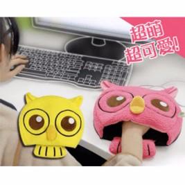 USB超萌卡通貓頭鷹帶護腕保暖滑鼠墊