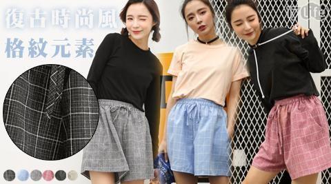 棉麻/短褲/褲/休閒/格紋/格子