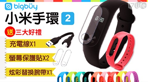 小米手環2+充電線+替換腕帶+螢幕保護貼