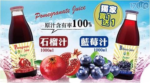 【買一瓶送一瓶】100%有機石榴汁/100%有機藍莓汁1000ml任選共
