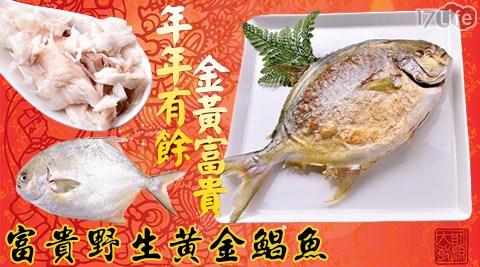 平均每隻最低只要229元起即可享有【金鮮】富貴野生黃金鯧魚1隻/4隻/8隻/10隻(600~700g/隻)。