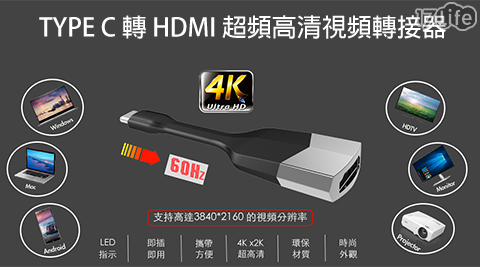 TYPE-C/HDMI/轉接頭/轉接線/4K/即插即用/USB