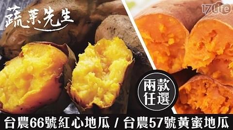 【蔬菜先生】台農66號紅心地瓜/台農57號黃蜜地瓜,二款任選1箱  共